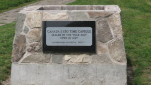 The plaque on cairn marking the sealing of the time capsule